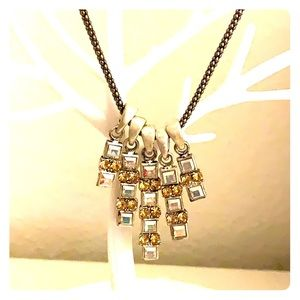 silver yellow CZ stone/crystal statement necklace